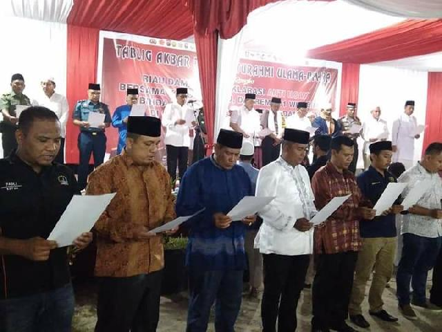 Deklarasi Riau Damai Anti Hoax digelar Usai Tabligh Akbar