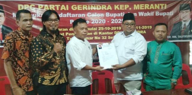 H Asmar Daftar ke Partai Gerindra  Panaskan Pilkada Meranti 2020
