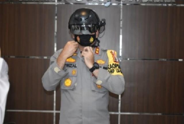 Ciptakan Pilkada Yang Aman, Kondusif dan Sehat, Polres Inhu Gunakan Smart Helmet