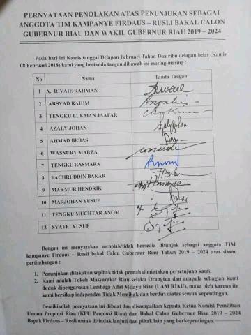 Tokoh Riau Keberatan Namanya Dimasukkan Jadi TimSes Salah Satu Cagubri
