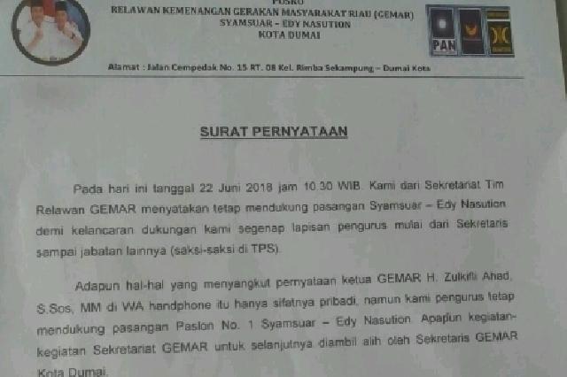 Luar Biasa Relawan Gemar Dumai Buat Surat Pernyataan Untuk Tetap Mendukung Syamsuar-Edy