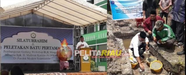 H Mafirion Letak Batu Pertama Pembangunan BLK Komunitas Ponpes Syamsuddin di Inhu