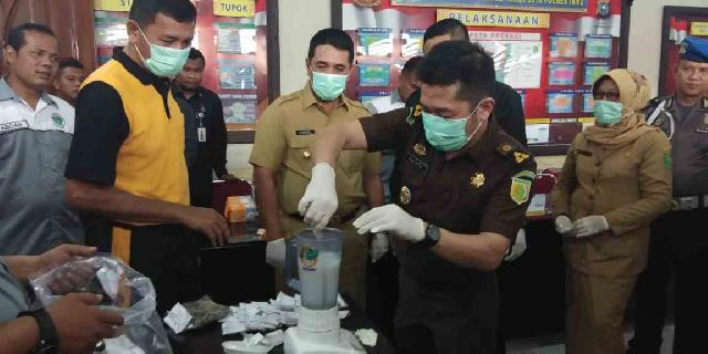 Polres Inhu Musnakan Barang Bukti Sitaan Sat Narkoba