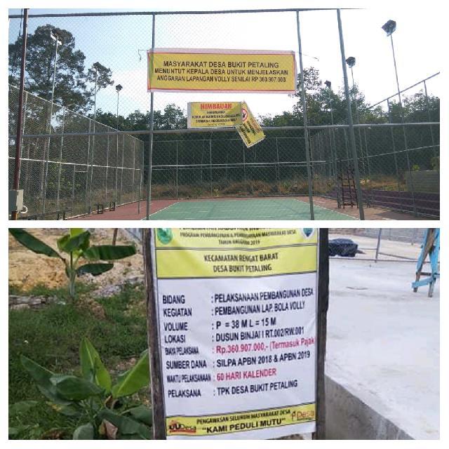 Dapat Protes Warga, Bangun Lapangan Bola Volly Senilai Rp3 Ratus Juta Lebih di Bukit Petaling