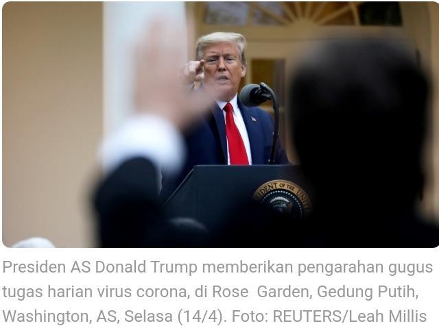 Trump Sebut China Akan Terima Konsekuensi atas Virus Corona