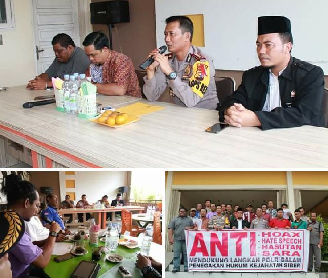 Perangi Isu Hoax Dengan Diskusi, Polres Inhu Gandeng PWI serta KPU dan Panwaslu