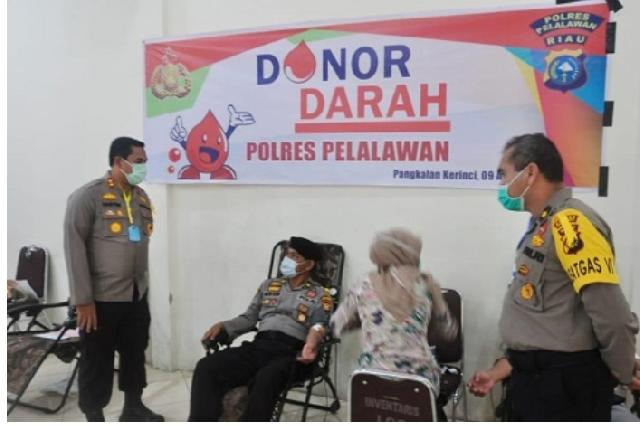 Aksi Nyata, Polres Pelelawan Gelar Donor Darah Massal ke PMI