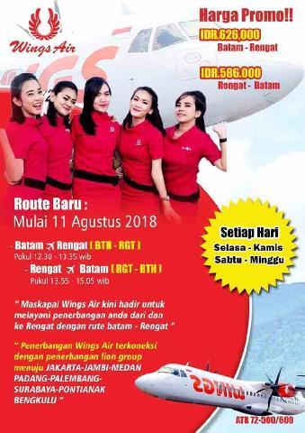 Pesawat Wings Air Sabtu Terbang Perdana Japura Batam