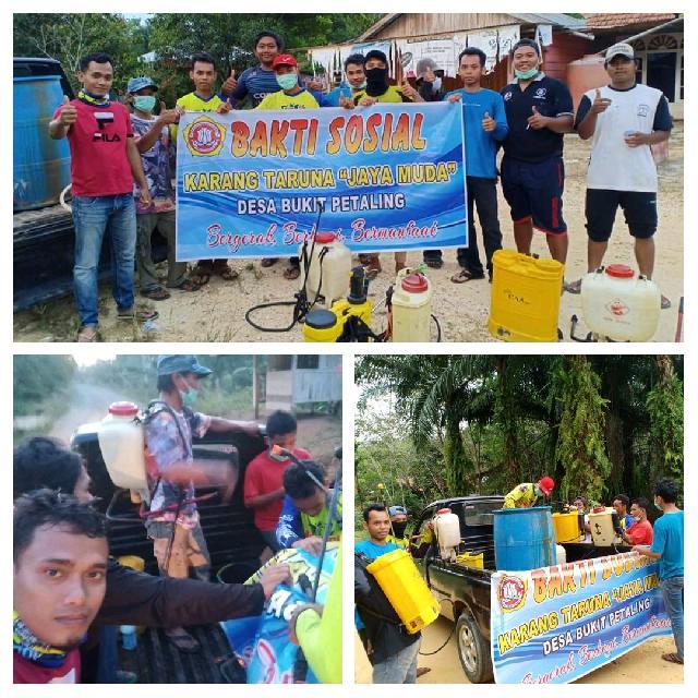 Cegah Covid-19, Ini Aksi Nyata Karang Taruna Jaya Muda Desa Bukit Petaling Inhu