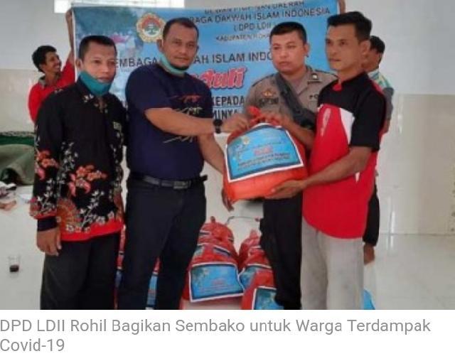 DPD LDII Rohil Bagikan Sembako untuk Warga Terdampak Covid-19