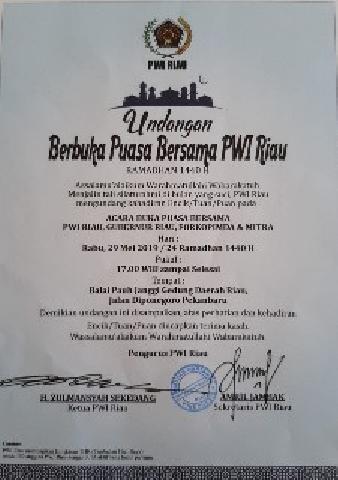 Gubri Syamsuar Akan Hadir Berbuka Bersama PWI Riau