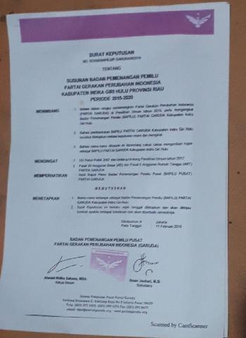 Sudirman Ketua Bappilu Inhu, di SK kan Langsung Ketum DPP Partai Garuda