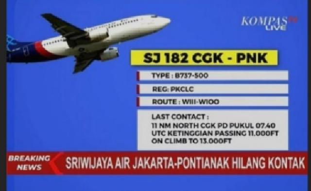 Ini Kronologi Jatuhnya Pesawat Sriwijaya Air PK-CLC