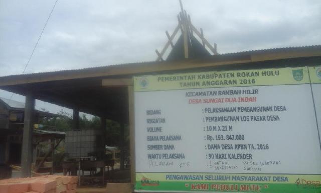 Pelaksanaan ADD dan DD desa Sungai Dua Indah Rohul Terealisasi dengan Baik