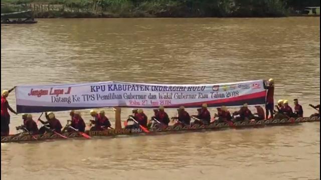 Open Pacu Sampan Batang Peranap Dimanfaatkan Oleh KPU Untuk Sosialisasi Pilgubri